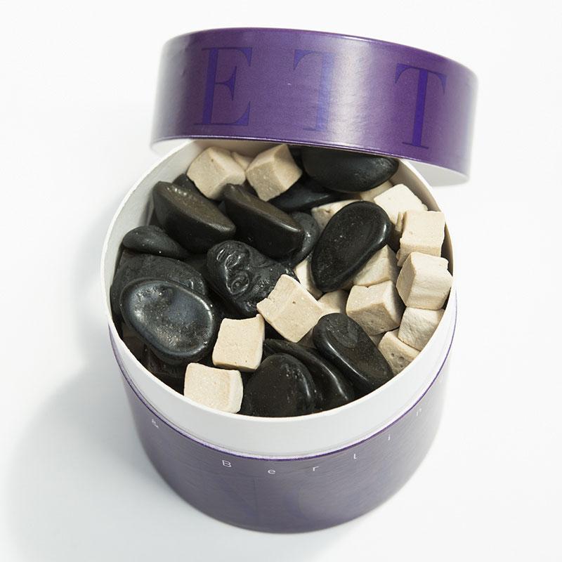 Boîte violette&berlingot assortiment réglisses offrir