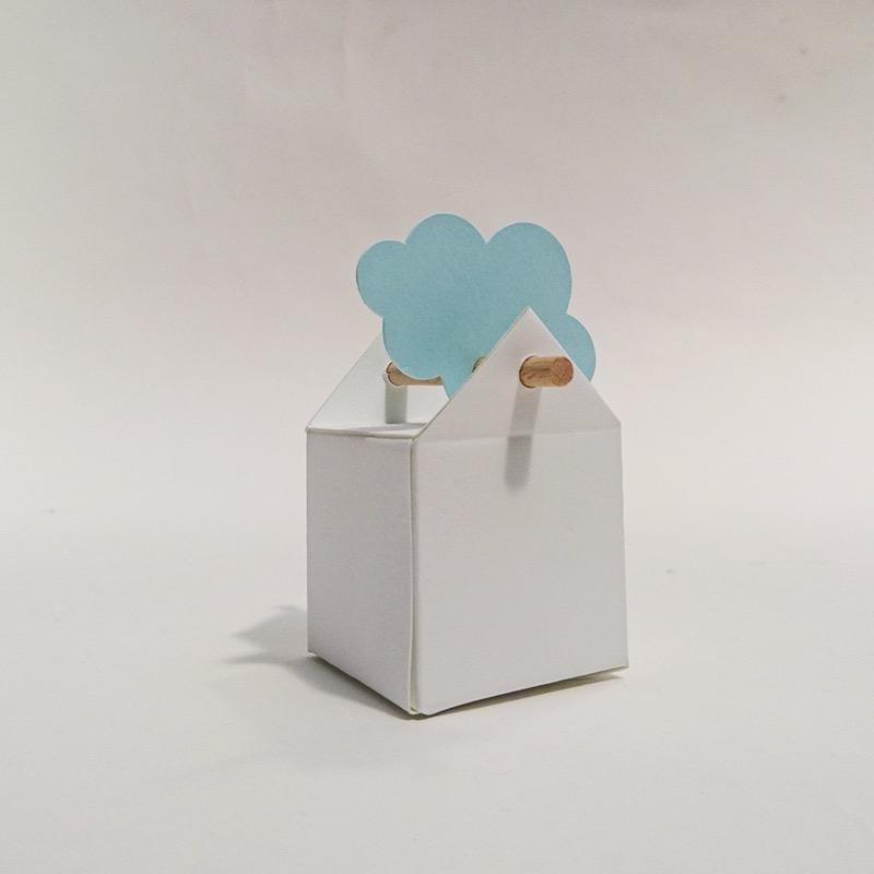boite bapteme dragées design cartonné tourillon bleu turquoise