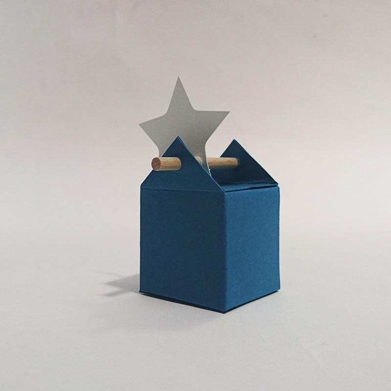boite bapteme dragées design cartonnée tourillon bleu turquoise
