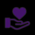 icone coeur sur main affection