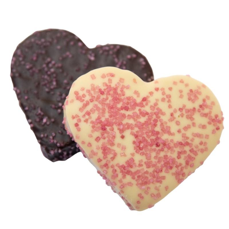 Coeur guimauves-chocolat Saint-Valentin blanc, noir et fambroise
