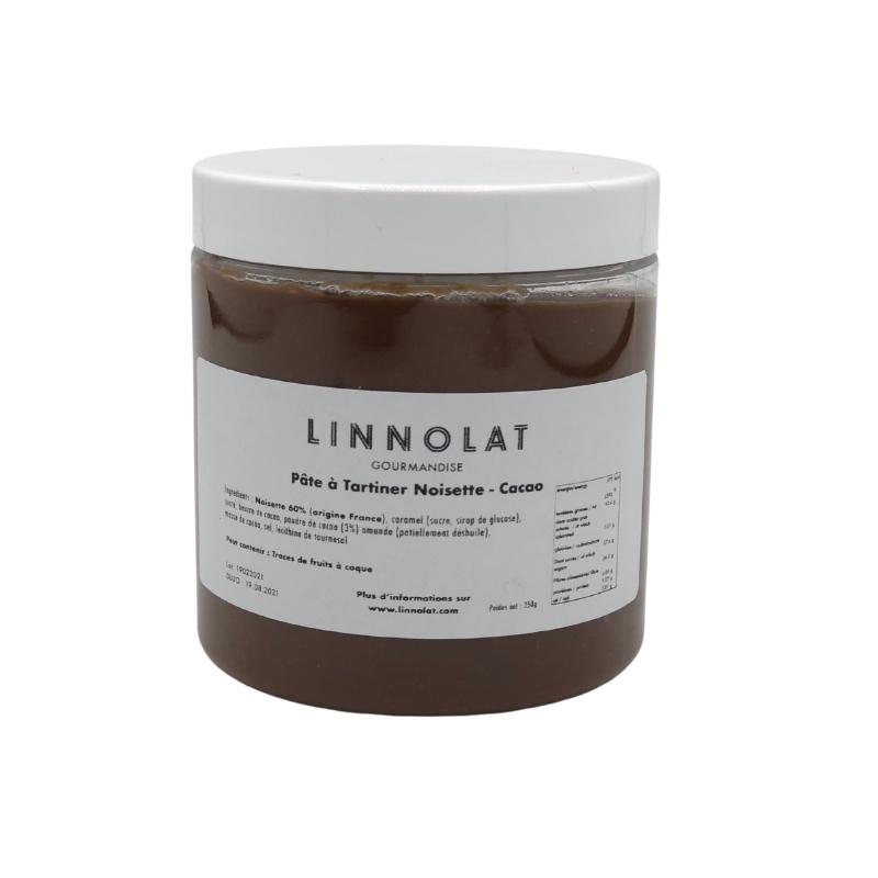 Pâte à tartiner noisette cacao de Linnolat.