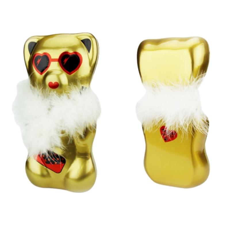 Boite oursons guimauves en chocolat noire et dorée.